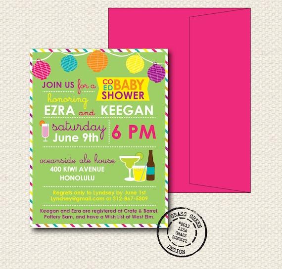 coed baby shower invitation 15 custom invitations with envelopes