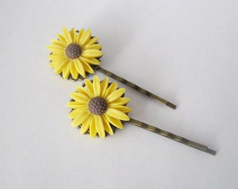 Sunflowers hairpins - a pair of vintage style yellow sunflower on antique bronze filigree clip