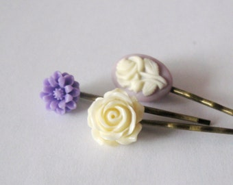 Bobby pin set of 3 in antique bronze - Creamy rose, purple daisy and floral cameo