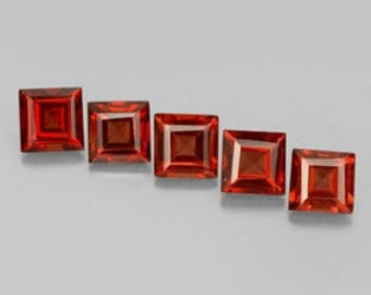 Red Garnet Faceted Squares 4 MM Priced Per Each