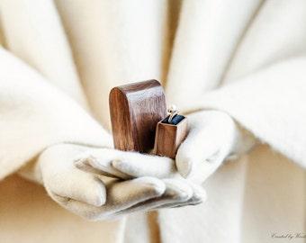Wood ring box - engagement ring box - proposal box - original Woodstorming design ring box