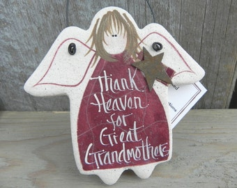 Great Grandmother Gift Angel Salt Dough Ornament Grandparents Day Gift