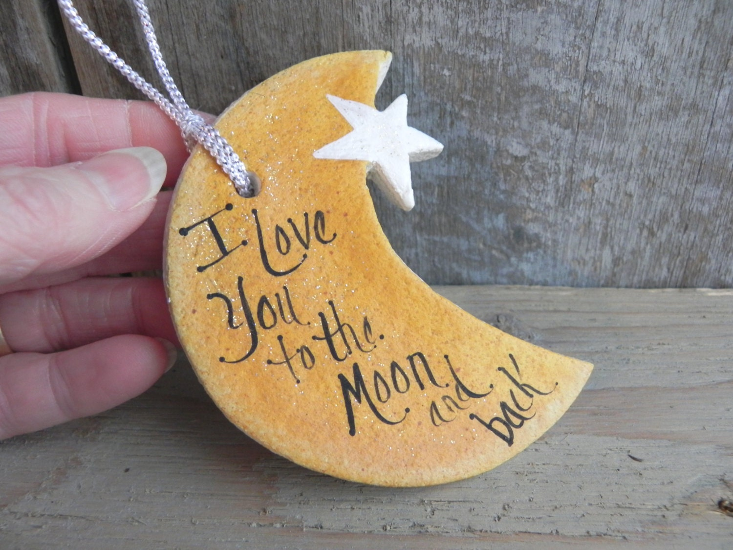 moon and star salt dough ornament love you by. Black Bedroom Furniture Sets. Home Design Ideas