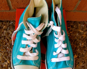 Vintage 1980s Shoes / 80 Toddler Coolest Turquoise Hightop Zips Sneakers by Stride Rite / Vintage DEADSTOCK (Toddler Size 12M)
