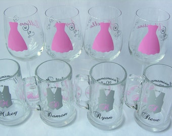 Wedding party glasses, wine glasses and beer mug.  Bridesmaids and Groomsman gifts.  Light pink dress and Groomsmen vest glasses. 1 glass