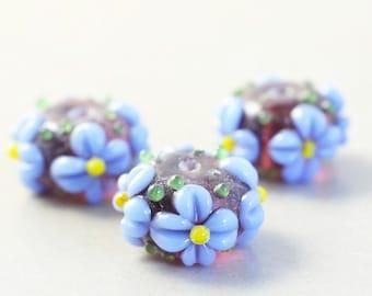 Purple Blue Beads, Flower, Lampwork Beads, Glass Beads, Three