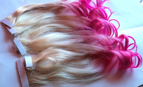 Hot pink and blonde ombre fade dip dye clip in human hair hot pink and blonde ombre fade dip dye clip in human hair extensions set double layered pmusecretfo Image collections
