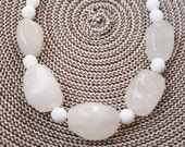 White Stone and Glass, Necklace, For Her, Accessory, Under 30