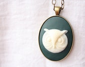 Cream Owl Cameo on Forest Green , Brass Setting, Fashion For Women, Under 20