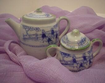 Vintage Destash Victorian Blue and Green Tea Set, Deshast, Tea Set, Antique, Unique, Bohemian, Victorian Cottage Chic, Eclectic, Whimsical
