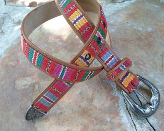 Western Belt with Red Tapestry
