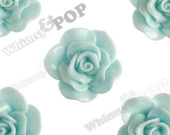 Large Aqua Blue Rose Cabochons, Flower Cabochons, Rose Flatback, 30mm x 28mm (R3-069)