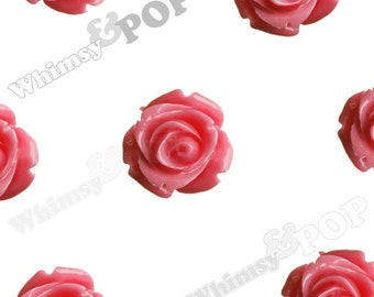 Open Bud Bubblegum Pink Rose Cabochons, Rose Flower Cabochons, Flower Cabs, 15mm x 7mm (R2-140)
