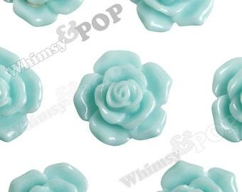 16mm Pointy Rose Aqua Flower Cabochons, Flower Cabs, Rose Shaped, Rose Cabochons, Rose Flatback Embellishments (R3-121)