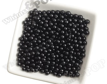 6mm - 100 PACK of  Black Acrylic Round Beads,  Mini Gumball Beads, 6mm Beads, 1mm Hole