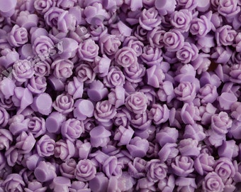 7.5mm - Lavender Purple Teeny Tiny Rose Resin Cabochons, Tiny Flower Cabochons, Flower Cabs, Tiny Flatback Roses, 7.5mm  (R3-040)