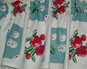Valance Cotton 52 x 13  Vintage look  KITCHEN Apples and Cherries 1940s TABLECLOTH Look Print Window Valance Blue or Red