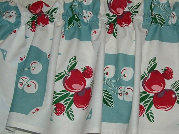 Valance Cotton 52 X 13 Retro Kitchen Apples And By
