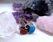 Awesome Flying Eagle 925 Sterling Silver Native American Turquoise & Coral Handmade Vintage Ring