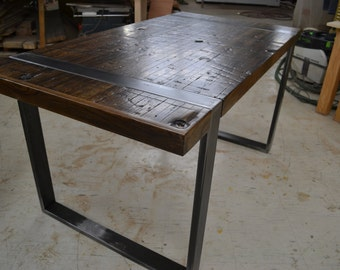 Desk - Reclaimed Boxcar Oak - Exposed Steel Legs