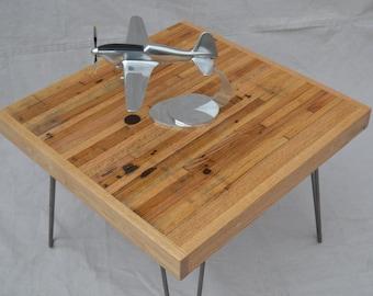 Coffee Table: Reclaimed Oak / Hairpin Legs