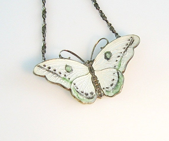 Vintage Butterfly Pendant Necklace Gilt Sterling Silver Guilloché Enamel Norway Style Muted Colors