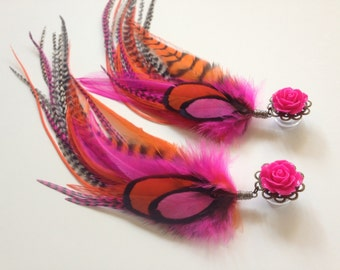"Feather Plugs Neon Dangle Plugs 7/16"", 1/2, 9/16 inch Pick Rose Color Big Flower Gauges For Stretched Ears 000g"