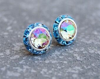 Lemon Rainbow Ice Aqua Earrings Sugar Sparklers Small Swarovski Crystal Lemon Rainbow Aqua Rhinestone Stud Earrings Mashugana