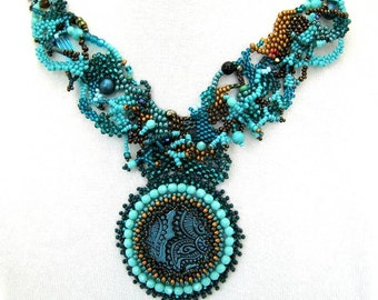 Teal necklace, Statement necklace, Freeform peyote necklace, Art jewelry, Handmade necklace, Beaded jewelry necklace