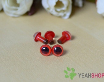 6mm Red Safety Eyes / Plastic Eyes - 10 Pairs