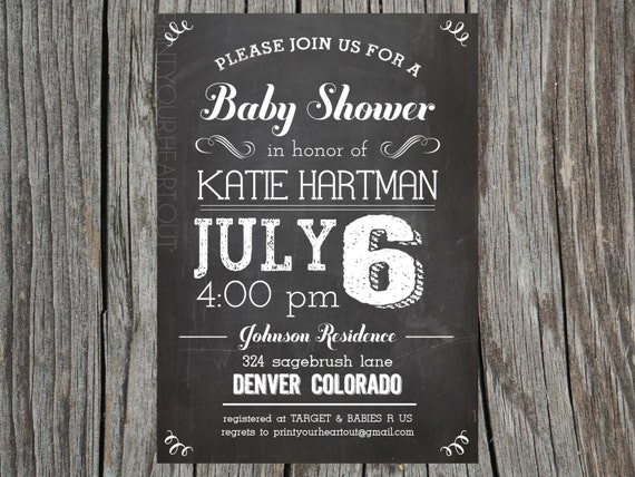 items similar to chalkboard vintage baby shower invitation rustic, Baby shower invitations