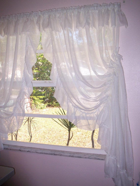 Vintage Priscilla Curtains White Self Sheering By