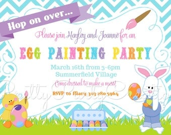 egg painting party easter invitation you print - Easter Party Invitations
