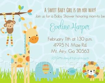 MOD BLUE JUNGLE baby shower invitation - You Print