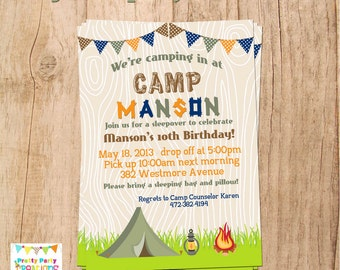 BOY CAMPING invitation - camping/sleepover party - YOU Print
