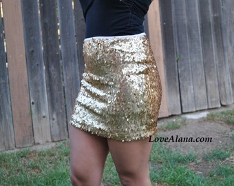 Medium only - Matte Gold Oval Sequins Skirt - beautiful, fun and classy skirt