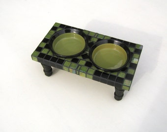 Petite Mosaic Diner, dog or cat feeder, elevated dog bowls, raised cat bowls