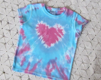 """SALE!!  Tie dye shirt, Youth XS, """"Heart of Pink"""" - Last one on this style of shirt!  Get it now!  CLEARANCE!!"""