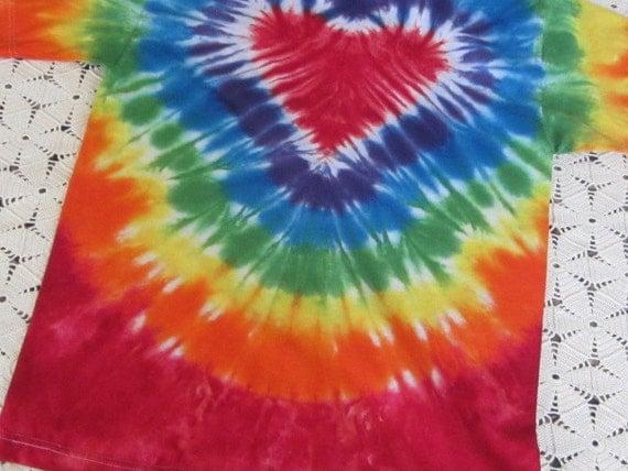 Tie dye shirt, medium adult, rainbow heart