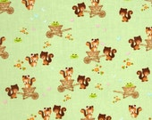 On Sale! Fabric 1 Yard FOREST FRIENDS Chipmunks Squirrels Green Camelot Cottons Baby Nursery Anton & Ink Quilting Sewing