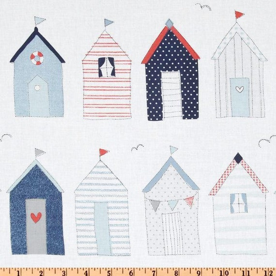 Fabric 1 Yard My Place or Yours cx5423-DENIM CABANA HOUSES House Huts Michael Miller Sewing Quilting