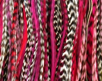 Feather Hair Extension- LONG 5 feather 5 dollars. pink red black