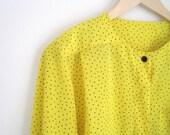 Vintage 90s shirt   Square Dotted Blouse   Black Polka Dot Yellow Shirt   Button Down Shirt