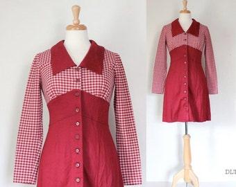 70s Dress  / 70s Mini Dress / 70s Boho Dress / Gingham Mini Dress