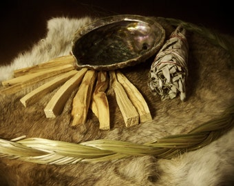 Smudge Sampeler Kit- Includes : 1oz Palo Santo, 1 Med White Sage Wand, 1 Large Sweet Grass Braid