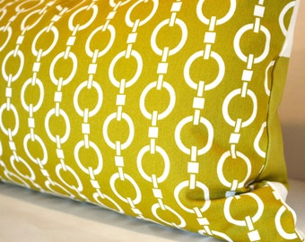 """Lumbar Pillow Cover in Gold Okra and Cream """"Chain"""" and """"Stripes"""""""