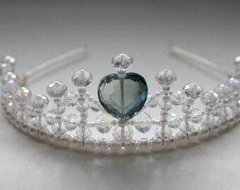 Smokey Blue Crystal Heart Tiara