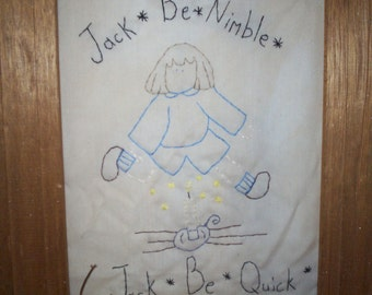 Jack Be Nimble, Jack Be Quick Primitive Nursery Rhyme Stitching