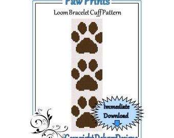Bead Pattern Loom(Bracelet Cuff)-Paw Prints