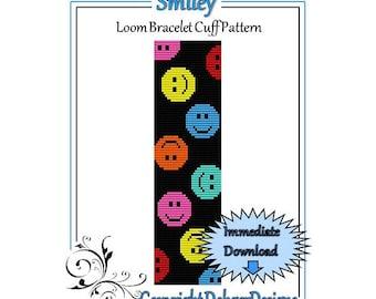 Bead Pattern Loom(Bracelet Cuff)-Smiley